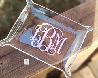 Monogram Acrylic Jewelry Dish - Jewelry Tray - Personalized Gift - Christmas Gift - Bridal Gift - Monogrammed Tray - Trinket Tray Catchall