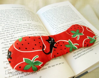 Cats and Strawberries Page Holder - Red and Black Book Weight, Kawaii Weighted Bookmark, neko and fruit, Valentine's Day gift, mischevious