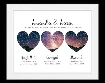3 Location Star Map Constellation Chart Night Sky, Personalized Mother Father Day Gift for Mom Dad knee 03656