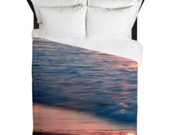 Duvet Cover, Beach Bedroom Decor, Ocean Decor, Pink Duvet Cover, Shabby Chic Beach Decor, Boho, Surf, Beach House Decor, Girls Bedroom Decor