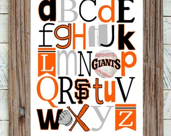 SF GIANTS baseball ABC Nursery Art Print