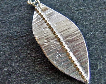 SILVER LEAF Necklace Hammered Sterling Silver Handmade Artisan Leaf Necklace, Nature Fall Jewelry