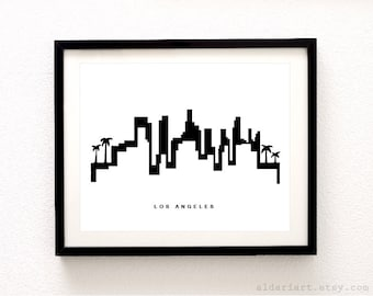 Los Angeles Skyline Print - Los Angeles Cityscape Print - Los Angeles Wall Art -  Modern Black and White Decor - Aldari Art