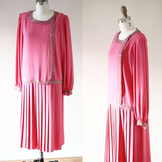 1980s pink drop waist dress // 1980s does 1920s dress // vintage flapper style dress