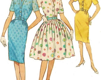 1960s Womens One Piece Dress with Slim or Full Skirt Simplicity Sewing Pattern 4425 Size 14 Bust 34 Wiggle or Rockabilly Dress