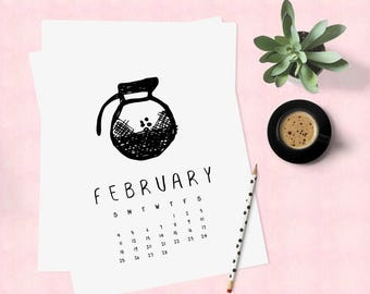 2018 calendar downloadable, Calendar pages, Cool cute funny calendar, Coffee calendar, Monthly calendar printable 2018, Office cubicle decor