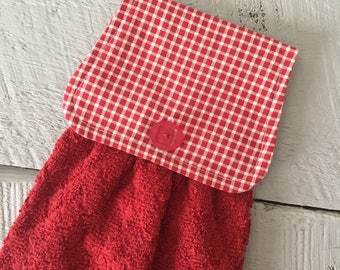 Hanging Kitchen Towel-  Red White Check Red Terry Cloth Towel Button Closure