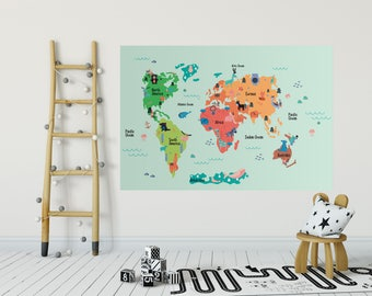 Child wallpaper etsy nz childs room world map wall decal removable wallpaper self adhesive world map nursery gumiabroncs Images