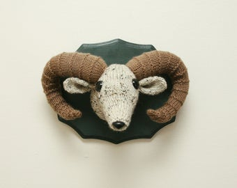 Faux Taxidermy Ram - Male Bighorn Sheep - Knit / Crochet Wall Art