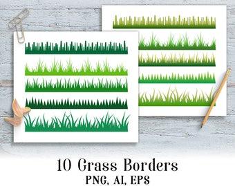 10 Grass Borders Clipart, Grass Divider, Summer Clipart, Woodlands Clipart, Meadow Clipart, Grass Frames Clipart, Spring Clipart, Forest