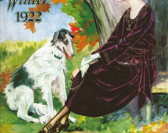 Simpsons Clothing Company - Cover to Fall/Winter Catalogue 1922 - woman with her dog in fall colours