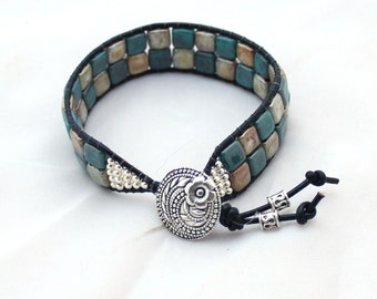 Leather Mosaic Tile Bracelet in Beige and Turquoise