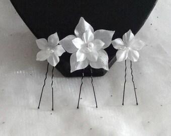 3 pics - silk flower hair pins - wedding white Ruth elegant - wedding Collection