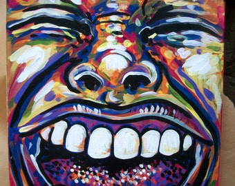 HAPPY  Mood Swings Painting emotion emotional psychology smile teeth dentist face painting dawn tarr contemporary art feeling valentine