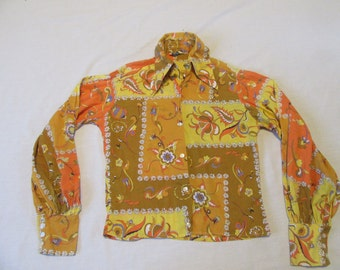 Retro 70's Shirt - Child Size S Small - BARNSBY - Button Up