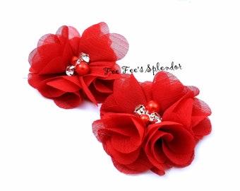 "Set of 2 - Red Chiffon flower - Pearl & rhinestone embellished flower- 2"" Red flower DIY Headband flower"