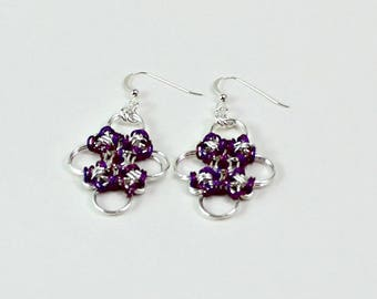 Sterling Silver and Niobium Japanese Cross Chainmaille Dangle Earrings