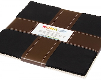 "Kona Cotton Solids 10"" Charm Squares - Snow / Black - 42pcs - Robert Kaufman TEN-460-42"