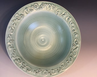 Handmade Teal Green/Turquoise Slip Trailed Serving Bowl