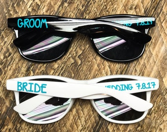 Bride and Groom sunglasses, Personalized Sunglasses, Wedding Favors, Bachelorette Party, , Bridesmaid Gift, Bridal Party, Custom Sunglasses