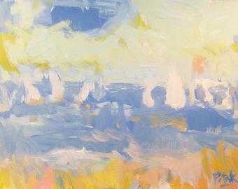 Blau Landschaft Malerei mit Segelbooten, Meer-Strand-Szene, abstrakte Kunst am Meer im blauen Ozean, Russ Potak Artist