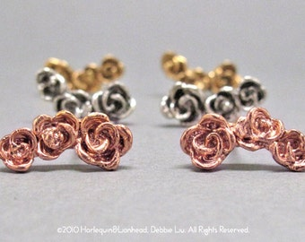 3-Rose stud earrings, wear it 2-ways, handmade in NY, gold/rose gold plated - 40% off spring sale, ready to ship. Silver option available.