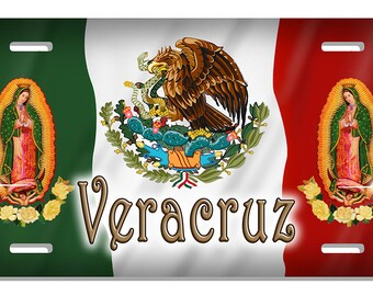 """Mexican Flag Eagle Our Lady Of Guadalupe Auto License Plate Personalize Gifts Any Text Or Name Mexican Latino 6"""" x 12"""""""