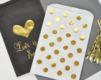 Black and Gold Wedding Favor Bags - Gold Polka Dot Candy Buffet Bags - Gold Foil Printed Favor Bags for Candy Buffet (EB3038) set of 12 bags