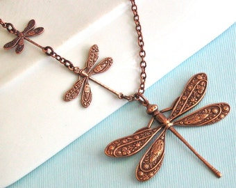Copper Dragonfly Necklace - Dragonfly Jewelry