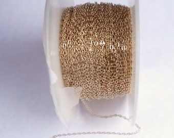 Gold Filled Chain, Flat Cable Chain, 14K Gold Filled, Bright Polished, 1.3 mm - Sold by the Foot. (GF-822F -7)