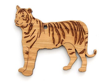 Tiger Ornament- Timber Green Woods. Sustainable Harvest Wood. Made in the USA!