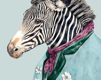 ZEBRA Fine Art Print, BLUE decor, Animal Decor, Zebra decor, Childrens Room, Zebra Illustration