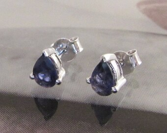 Silver pierced earrings and teardrop shaped Iolite