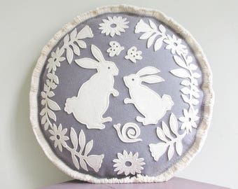Bunny Rabbit Flower Garden Pillow in Grey and White, Butterflies, Snails and Flowers