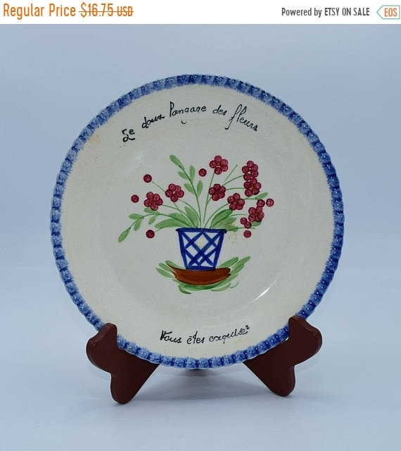 Delayed Shipping Blue Ridge Southern Pottery PV French Plate Langage des Fleurs Vintage Parry Vieille Made in France Dessert Plate French Di