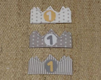 Children's birthday crowns, adjustable velcro closure, number and central circle to choose from