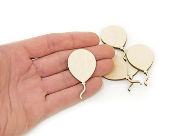 5pcs. Wooden Balloon (5cm) Shapes Ornaments Craft Decoration Gift Decoupage Unpainted MG000015