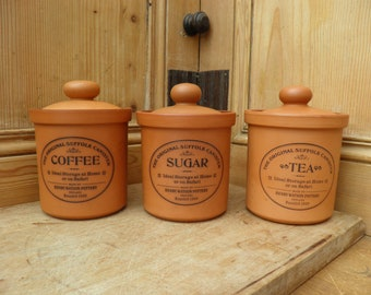 Vintage Set of Three 'The Original Suffolk Canister' Coffee, Sugar and Tea Canisters. Henry Watson Pottery, Made in England,