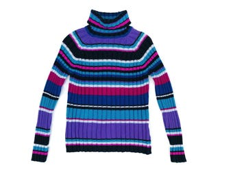 90's Chunky Ribbed Knit Striped Turtleneck Sweater S