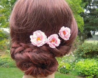 Pink Flower Hair Pins, Small Pink Flower Hair Pins with Yellow/Gold Colored Stamens, Pink Bridal Hair Flowers, Pink Flowers for Hair -BB0177