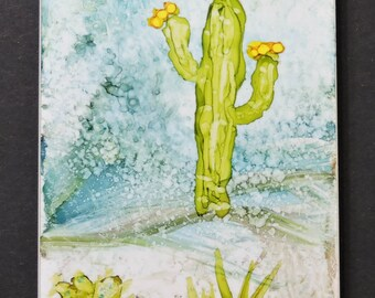 Cacti in the Desert - Ceramic Art Tile