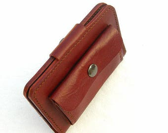 Leather passport wallet with attached purse. Leather passport cover. Brown leather travel wallet. Leather passport holder. Passport wallet