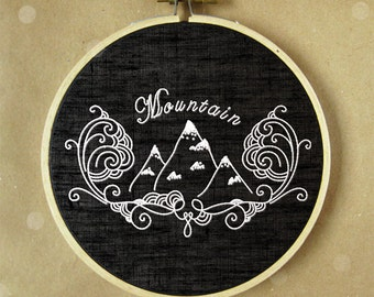 Embroidery hoop art, hand embroidery, modern art, Mountain embroidery, pdf pattern