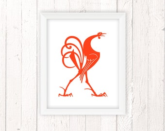 French Vintage, Rooster Decor, Kitchen Wall Art, Chicken Print