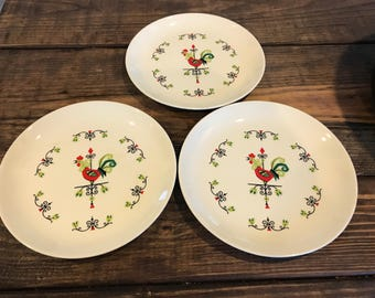 Lot of 3 Rooster saucers. Edwin knowles?