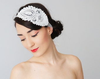 Bridal Headband Bridal Headpiece Lace Headband Retro Headband Wedding Bridal Accessories Lace Headpiece/ SERRA