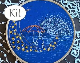 Beginner Embroidery Kit, DIY Hoop Art Kit, Sweet dreams, hand Embroidery Pattern, nursery decor - modern embroidery kit - needlepoint kits -