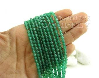 Green Agate Beads, 4mm Round Agate Bead Strands, One 1 Full Strand Semiprecious Gemstone Beads, Loose Beads