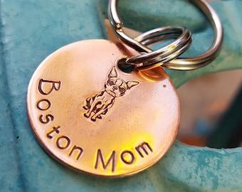 Boston Terrier Schlüsselanhänger, Boston Mama Schlüsselanhänger, Hund Mom Schlüsselanhänger Hund Besitzer Geschenk, Boston Hund Besitzer Geschenk, Custom Hunde Schlüsselanhänger