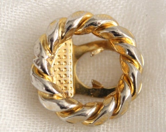 Vintage Gold Tiny Twisted Circle Shoe Scarf Or Sweater Clip . Unsigned
